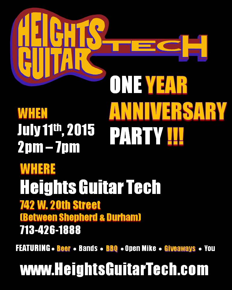 STRINGED INSTRUMENT REPAIR AND AMP REPAIR SHOP CELEBRATES ONE YEAR IN THE HOUSTON HEIGHTS